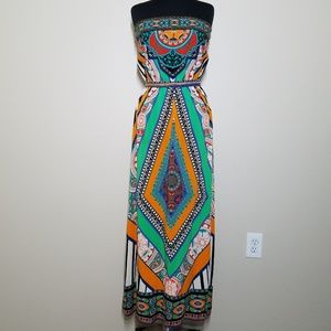 Flying Tomato Maxi Dress Strapless Boho Colorful M